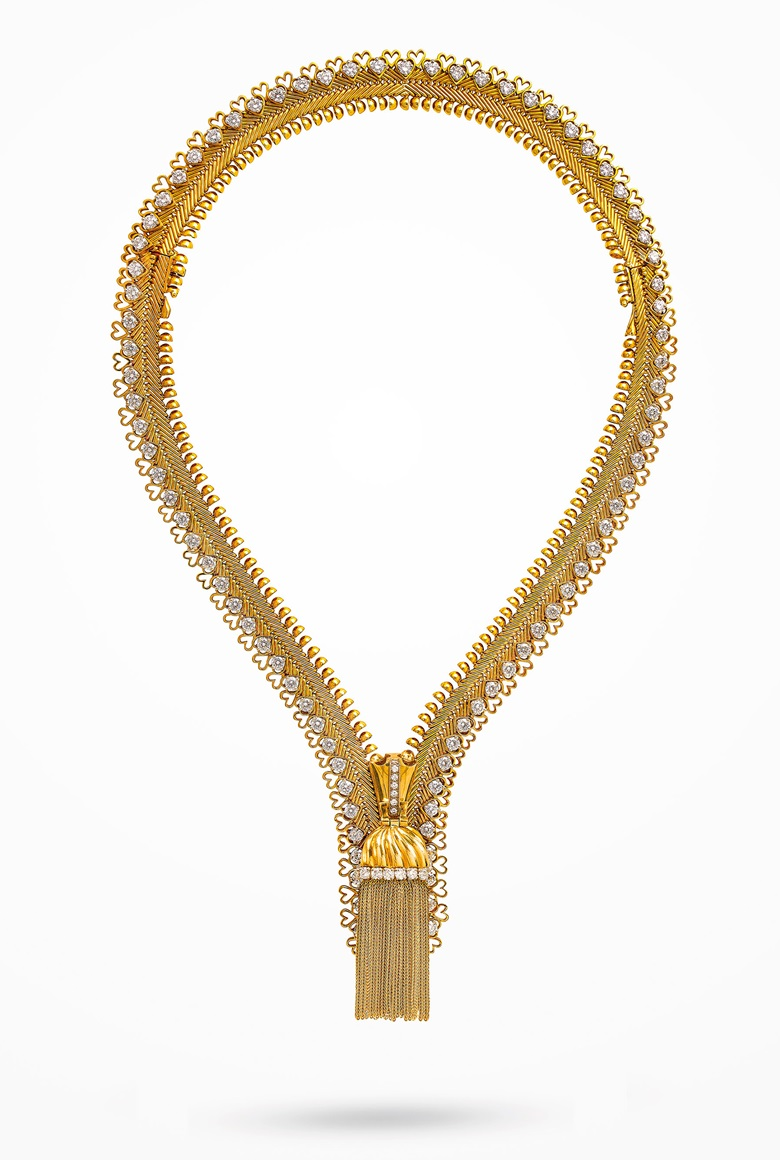 Diamond 'Zip' necklace, Van Cleef & Arpels, circular-cut diamonds, platinum and gold (french marks), transformable for wear as a bracelet, necklace 40.5 cm, bracelet 17.3 cm. Signed Van Cleef & Arpels, no. ml3781. Sold for CHF 237,500 on 12 November 2019 at Christie's in Geneva