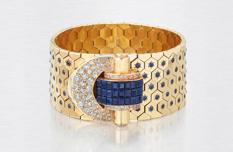 Retro sapphire and diamond 'Ludo Hexagone' bracelet, by Van Cleef & Arpels. Old and calibré-cut sapphires, old and single-cut diamonds, gold (French marks), circa 1936. Sold for £50,000 on 27 November 2019 at Christie's in London