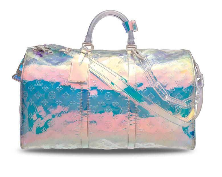 A limited edition iridescent Prism Monogram Keepall Bandoulière 50 with white hardware by Virgil Abloh, Louis Vuitton, 2019. 50 w x 29 h x 23 d cm. Estimate HK$15,000-20,000. Offered in Handbags & Accessories on 25 November 2019 at Christie's in Hong Kong