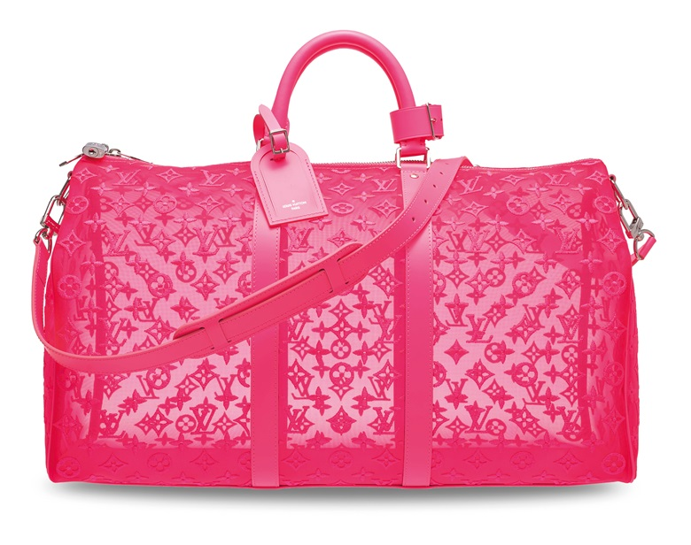 A limited edition red embroidered monogram Keepall Bandoulière 50 with silver hardware by Virgil Abloh, Louis Vuitton, 2019. 50 w x 29 h x 23 d cm. Estimate HK$15,000-20,000. Offered in Handbags & Accessories on 25 November 2019 at Christie's in Hong Kong