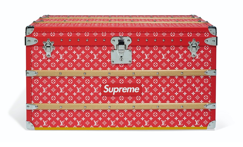 A limited edition red & white monogram Malle Courrier 90 trunk with silver hardware by Supreme, Louis Vuitton x Supreme, 2017. 90 w x 51 h x 48 d cm. Estimate $50,000-60,000 (£39,630 - GBP 47,556). Offered in Handbags X HYPE, 26 November to 10 December 2019, Online