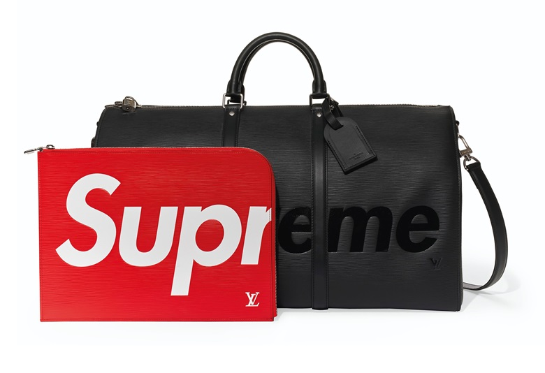 A set of two black epi leather Keepall Bandouliere 55 & red epi leather laptop case, Louis Vuitton x Supreme. Case 34 w x 25 h x .5 d cm. Estimate $3,000-5,000 (£2,377.80 - GBP 3,963). Offered in Handbags X HYPE, 26 November to 10 December 2019, Online