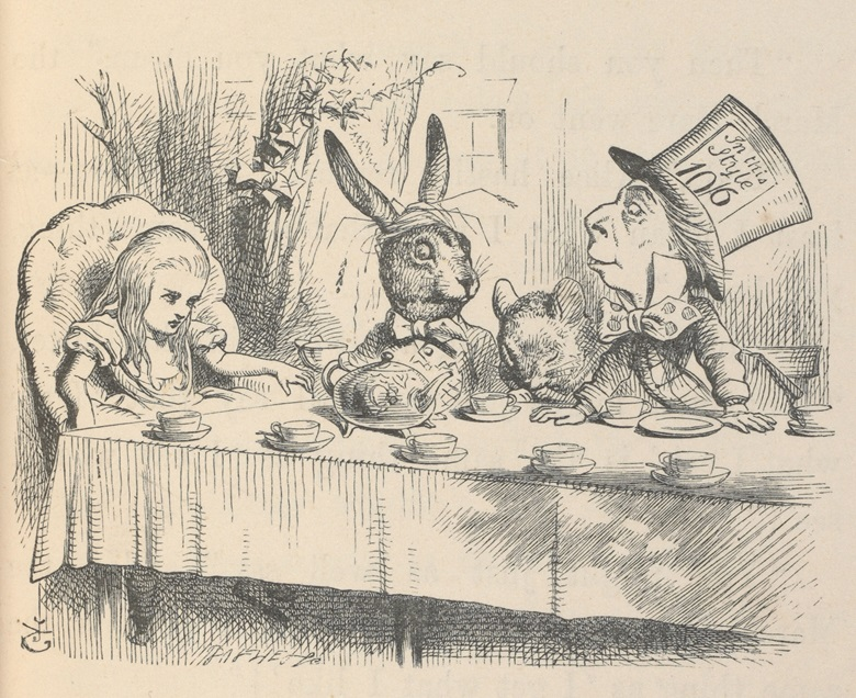 Alice at the Mad Hatter's Tea Party, Illustration for Alice's Adventures in Wonderland by John Tenniel, 1865 (c) Victoria and Albert Museum, London