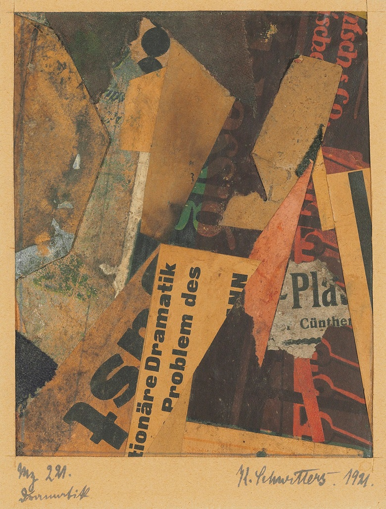Kurt Schwitters (1887-1948), Mz 221. Dramatik, executed in 1921. Fabric, gouache, card and paper collage on paper. 5¼ x 4⅛ in (13.3 x 10.5 cm). Estimate £100,000-150,000. Offered in Impressionist and Modern Works on Paper on 6 February 2020 at Christie's in London