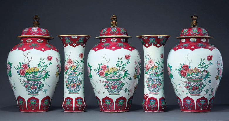 A large ruby and famille rose five-piece garniture, YongzhengEarly Qianlong period, circa 1730-40. 19 in (48.2 cm) high. Offered in Chinese Export Art Featuring the Tibor Collection, Part II on 24 January 2020 at Christie's in New York
