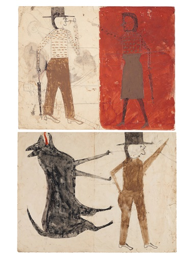 Bill Traylor (circa 1853-1949), Man on White, Woman on Red  Man with Black Dog, double sided, 1939-1942. Tempera and graphite on paper. 18⅞ x 24 in. Estimate $200,000-400,000. Offered in Outsider Art on 17 January 2020 at Christie's in New York