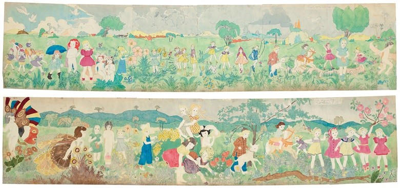 Henry Darger (1892-1973), Untitled (188 at Jennie Richie Everything is all right with abatement of storm  189 at Jennie Richie Heading for Manley Camp), double sided. Estimate $400,000-600,000. Offered in Outsider Art on 17 January 2020 at Christie's in New York
