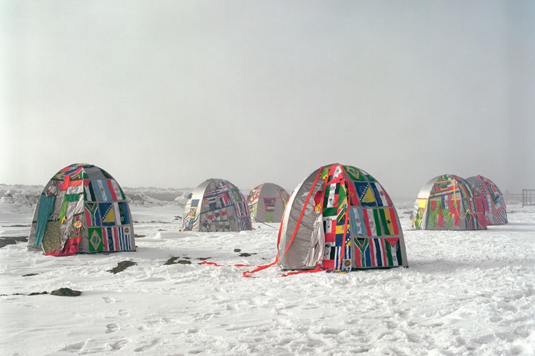 Lucy + Jorge Orta, Antarctic Village — No Borders, 2007. Ephemeral installation of Antarctic Village, North, South East and West villages across the Antarctic Peninsula from March to April 2007, various dimensions. Image courtesy of Lucy + Jorge Orta. Photo Thierry BalADAGP