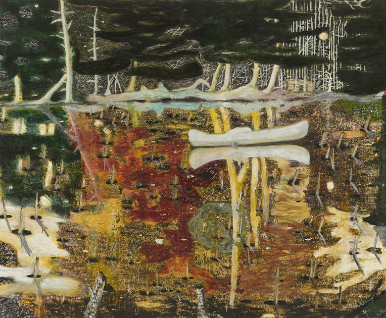 Peter Doig, Swamped, 1990. 197 x 241 cm. Oil on canvas. © Peter Doig. All rights reserved, DACS & JASPAR 2019 C3006