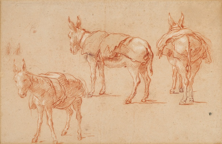 Giovanni Battista Tiepolo (1696-1770), Three studies of a donkey. Red and white chalk on paper. 12¼ x 18¾ in (31 x 47.6 cm). Estimate $250,000-350,000. Offered in Old Master & British Drawings Including Works from the Collection of Jean Bonna on 28 January 2020 at Christie's in New York