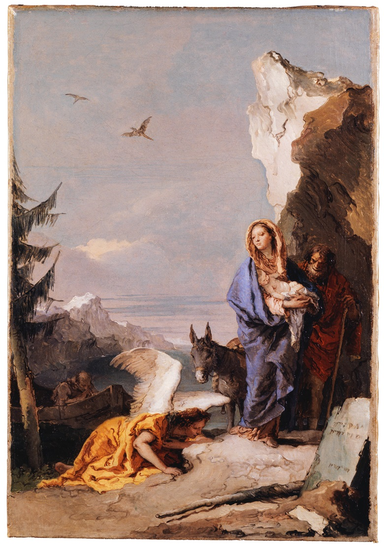 Giovanni Battista Tiepolo's The Flight into Egypt, c. 1767-70. Oil on canvas. Property of the Metropolitan Museum of Art, New York. Bequest of Mrs Charles Wrightsman, 2019