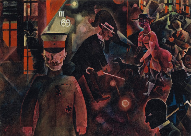 George Grosz (1893-1959), Gefährliche Straße, painted in July 1918. Oil on canvas. 18⅝ x 25¾ in (47.3 x 65.3 cm). Estimate £4,500,000-6,500,000. Offered in the Impressionist and Modern Art Evening Sale on 5 February 2020 at Christie's in London