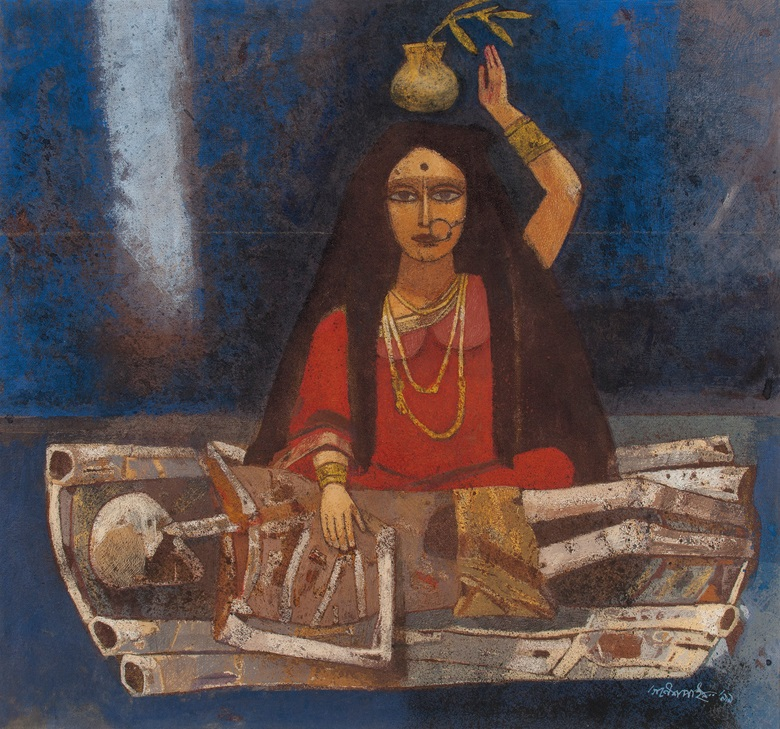 Ganesh Pyne, Savitri, 1999. Tempera on canvas. 21 x 22¼ in (53.3 x 56.5 cm). Estimate $80,000-120,000. Offered in A Lasting Engagement The Kito and Jane de Boer Collection on 18 March at Christie's in New York