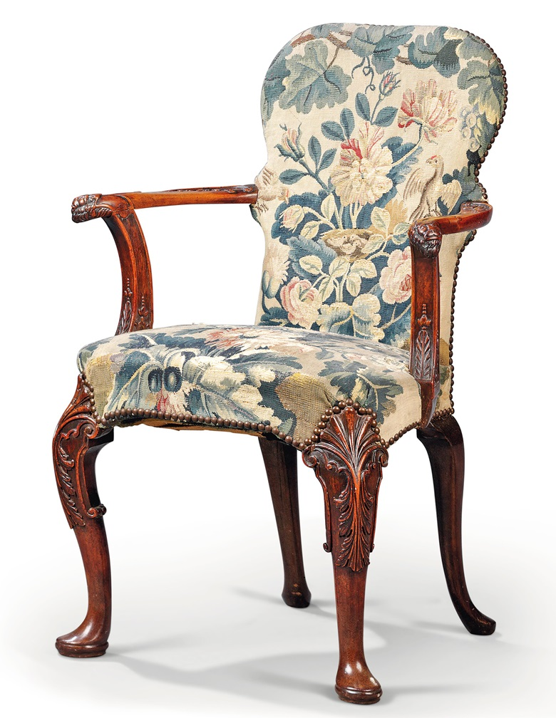 A Chinese Export padouk open armchair, circa 1730. Sold for £10,000 in Chieveley House, Berkshire and Five Private Collections on 19 March 2020 at Christie's in London
