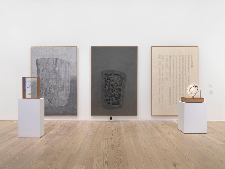 Installation view of the Whitney Biennial 2019 (Whitney Museum of American Art, New York, May 17-September 22, 2019). From left Gala Porras-Kim, La Mojarra Stela and Its Shapes, 2019; Gala Porras-Kim, La Mojarra Stela Negative Space, 2019; Gala Porras-Kim, La Mojarra Stela Illuminated Text and La Mojarra Stela Incidental Conjugations, 2019. Photograph by Ron Amstutz