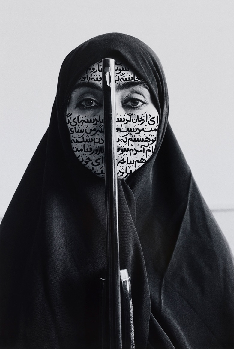 Shirin Neshat, Rebellious Silence, 1994. RC print & ink (photo taken by Cynthia Preston). 46⅝ x 31⅛ in (118.4 x 79.1 cm). Copyright Shirin Neshat. Courtesy the artist and Gladstone Gallery, New York and Brussels