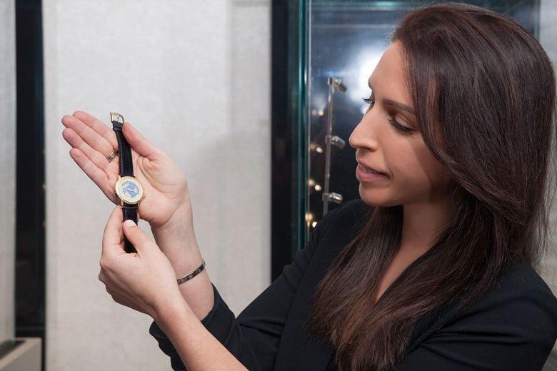 Rebecca with the Andersen Genève, World Time, 18k gold, Christopher Columbus 500th anniversary