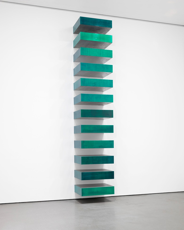 On show at Judd at MoMA Donald Judd, Untitled, 1967. Green lacquer on galvanized iron. 12 units, each 9 x 40 x 31 in (22.8 x 101.6 x 78.7 cm), installed vertically with 9 in (22.8 cm) intervals. The Museum of Modern Art, Helen Acheson Bequest (by exchange) and gift of Joseph Helman © 2020 Judd Foundation  Artists Rights Society (ARS), New York