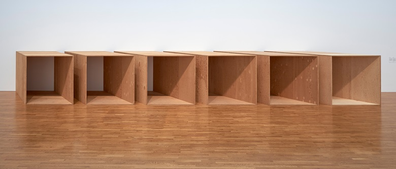 On show at Judd  at MoMA Donald Judd, Untitled, 1973. Plywood. Five units, each 72 × 143 × 72 in (182.9 × 363.2 × 182.9 cm), with 12 in (30.5 cm) intervals. An additional sixth unit fabricated in 1975. National Gallery of Canada, Ottawa © 2020 Judd Foundation  Artists Rights Society (ARS), New York