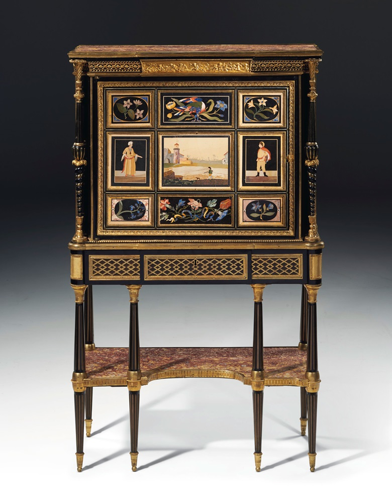 A late Louis XVI pietra dura and ormolu-mounted ebony secrétaire en cabinet by Adam Weisweiler and almost certainly supplied by Dominique Daguerre, circa 1785-1790. Estimate $600,000-1,000,000. Offered in Dalva Brothers Parisian Taste in New York on 22 October at Christie's in New York