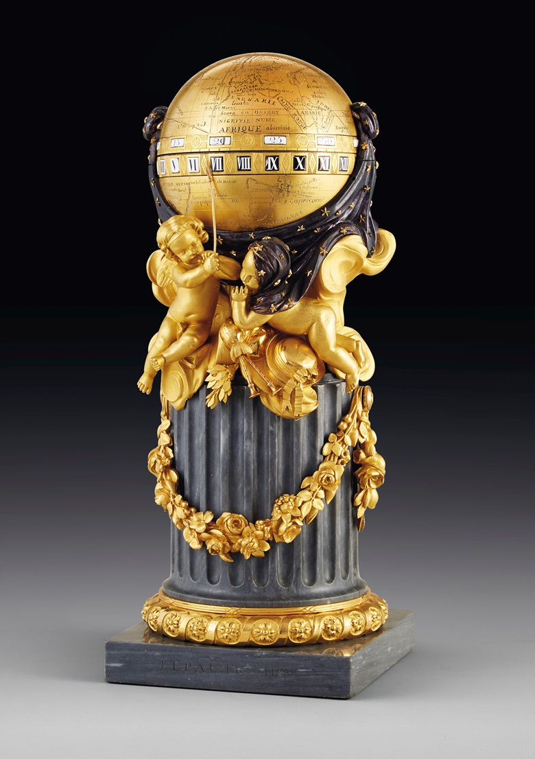 A Louis XVI ormolu, blued and silvered metal and bleu turquin marble pendule à cercles tournants, by Lepaute, Paris, dated 1780. With guilloche border inscribed LEPAUTE, the marble signed LEPAUTE HGR, the movement signed LEPAUTE HGR DU ROI 1780. 14¼ in (36.5 cm) high, 5¾ in (14.5 cm) diameter. Estimate $70,000-100,000. Offered in Dalva Brothers Parisian Taste In New