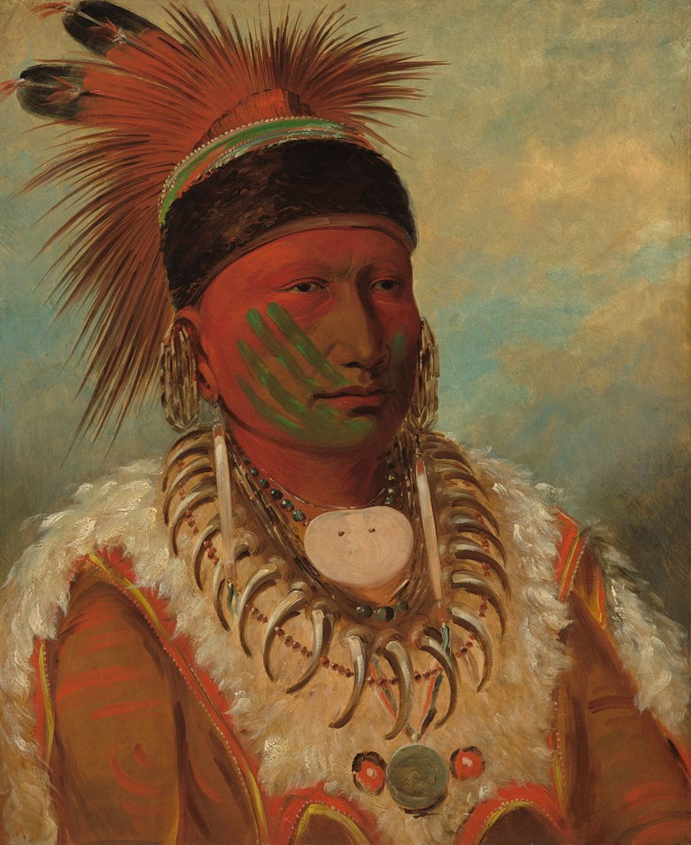 George Catlin (1796-1872), The White Cloud, Head Chief of the Iowas, 1844-1845. Oil on canvas. Overall 71 x 58 cm. Paul Mellon Collection. 1965.16.347. Courtesy National Gallery of Art, Washington