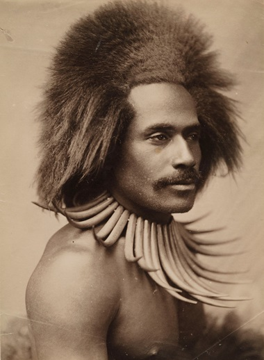 Probably John William (J. W.) Waters, Fijian Warrior (with Whale Tooth Necklace), 1880s. Albumen print.  Los Angeles County Museum of Art, partial gift of Mark and Carolyn Blackburn and purchased with funds from LACMAs 50th Anniversary Gala and Fiji Water. Photo © Museum AssociatesLACMA