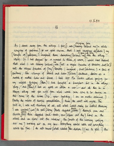 John Banville's original handwritten manuscript of The Book of Evidence. Photo courtesy of John Banville