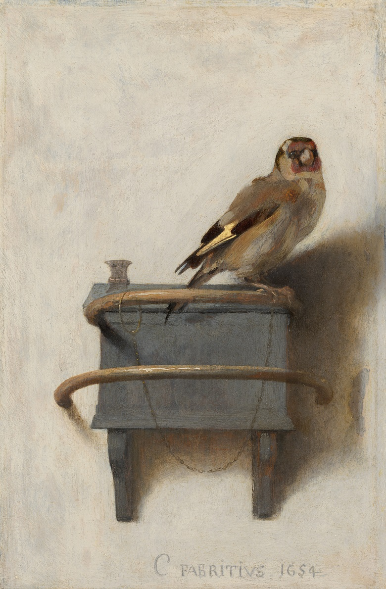 Carel Fabritius (1622-54), The Goldfinch, 1654. Oil on panel. 33.5 x 22.8 cm. Mauritshuis, The Hague, The Netherlands. Photo Bridgeman Images