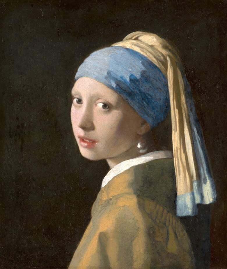 Jan Vermeer, Girl with a Pearl Earring, c 1665-6. Oil on canvas. 44.5 x 39 cm. Mauritshuis, The Hague, The Netherlands. Photo Bridgeman Images
