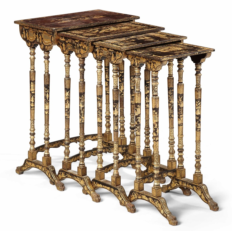 Four Chinese export nesting tables. Early 19th century. Black and gilt lacquer. 28 in (71.1 cm) high, 19 in (48.3 cm) wide, 11½ in (29.2 cm) deep, the largest. Estimate $1,000-1,500. Offered in Christie's Living August Collections, 7-20 August 2020, online