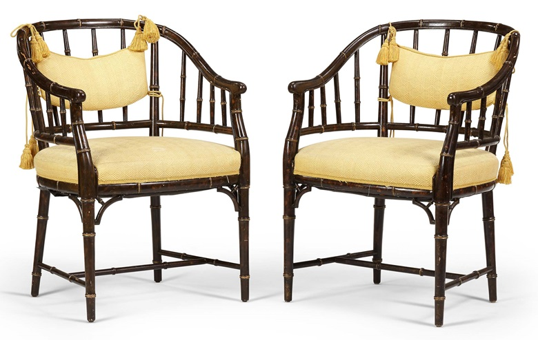 Pair of English tub chairs. Second half 20th century. Faux tortoiseshell and parcel-gilt. Estimate $2,000-3,000. Offered in Christie's Living August Collections, 7-20 August 2020, online