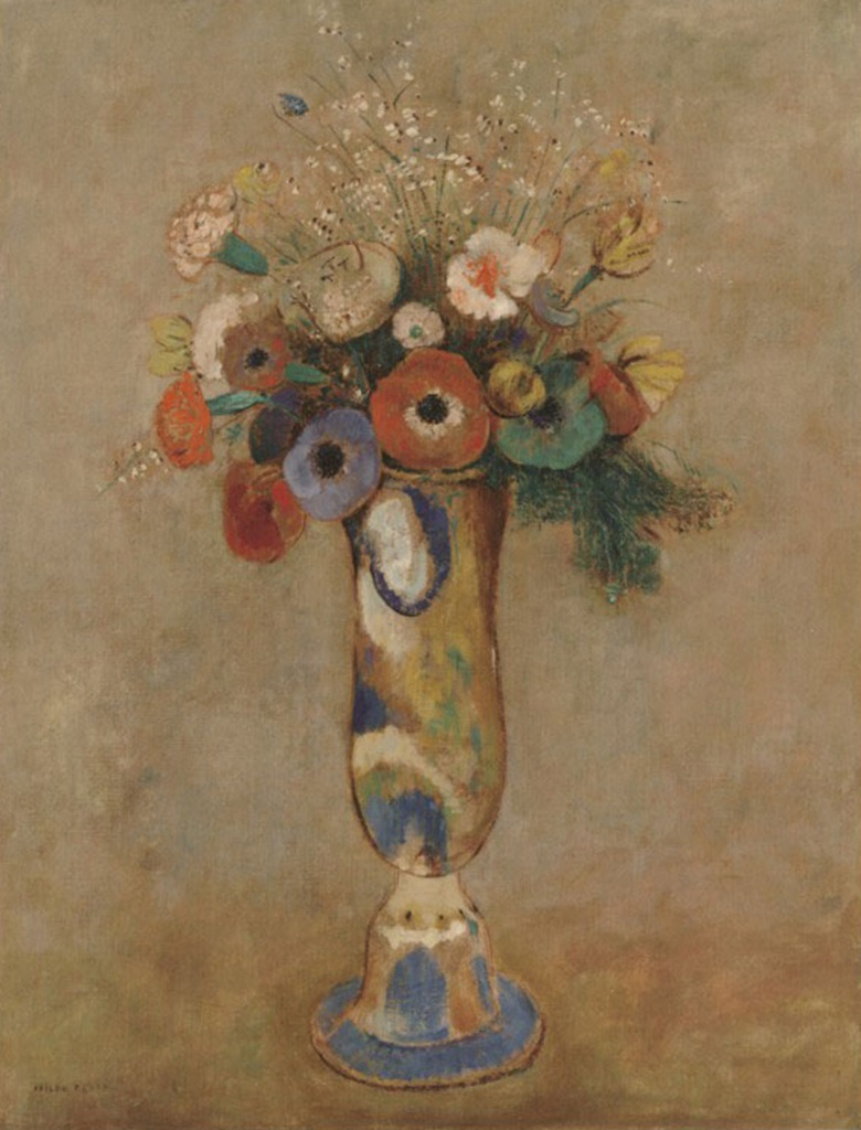 Odilon Redon, Fleurs des champs dans un vase au long col, before 1905. Sold, Christie's London, 27 June 1988, lot 19; gift of the Ian Woodner Family Collection to The Museum of Modern Art, New York.
